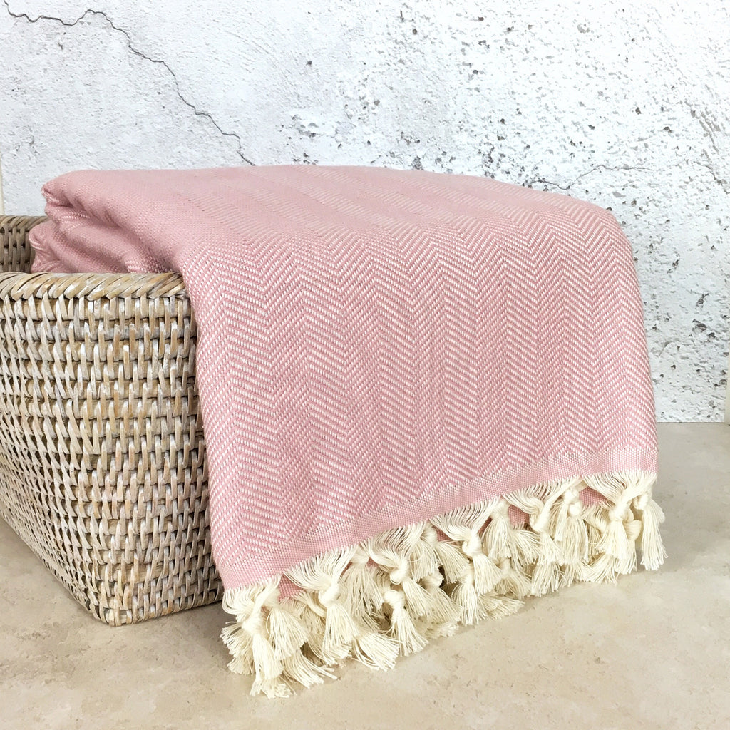 Herringbone Cotton Turkish Throw Blanket in Blush Pink from Sand and Salt.