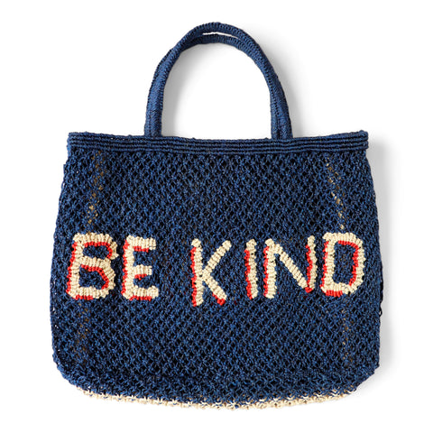 The Jacksons Be Kind jute tote bag - Small size 44cm x 33cm - Indigo base colour with the words be kind in natural with red shadow. With jute handles.