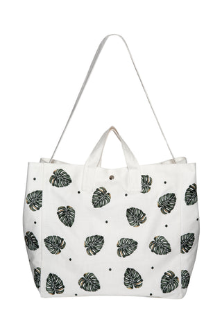 Elizabeth Scarlett jungle leaf beach bag in cream white from sand and salt