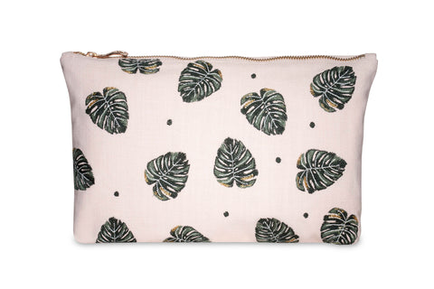 Elizabeth Scarlett Jungle Leaf Pouch - Rose Pink