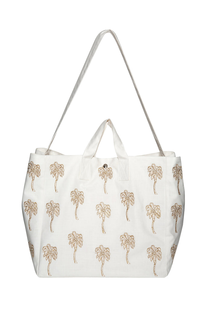 Elizabeth Scarlett palmier palm tree beach bag in cream white gold from sand and salt