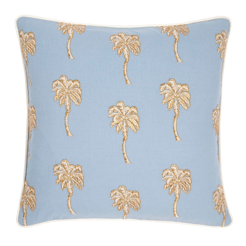 Elizabeth Scarlett Palmier palm tree Cushion in light Chambray blue from sand and salt