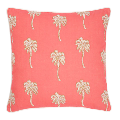 Elizabeth Scarlett Palmier palm tree Cushion in coral red from sand and salt