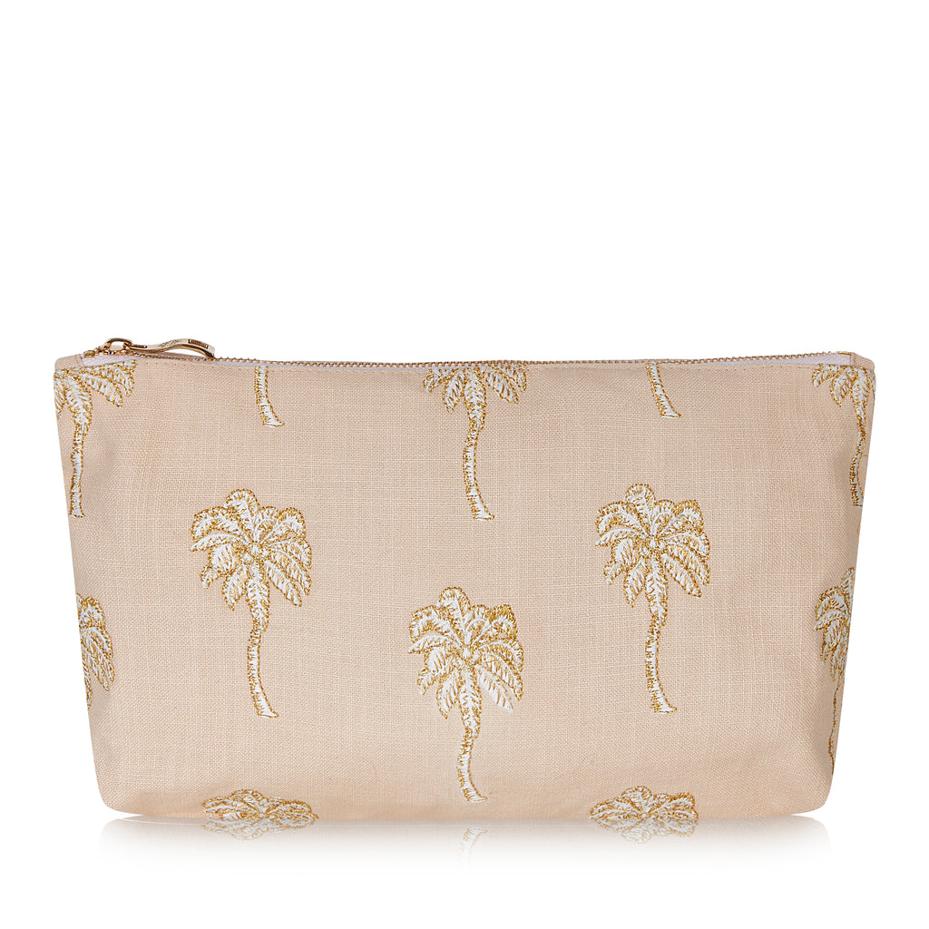 Elizabeth Scarlett Palmier travel Pouch - Taupe with palm tree embroidery