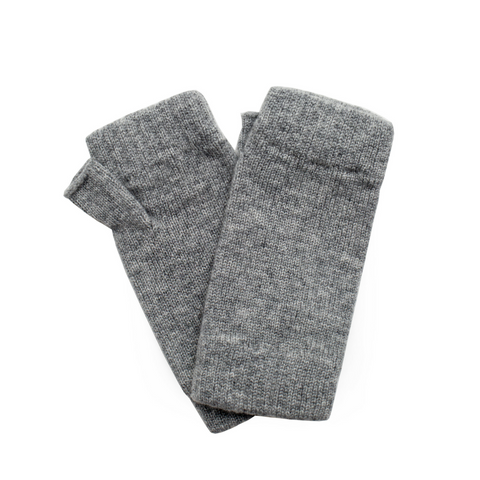 sand and salt Classic Cashmere Wrist Warmers - Light Grey Marl