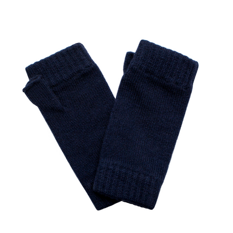 Classic Cashmere Wrist Warmers - Navy Blue