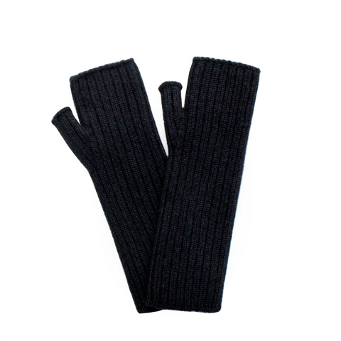 Ribbed Cashmere Wrist Warmers - Black