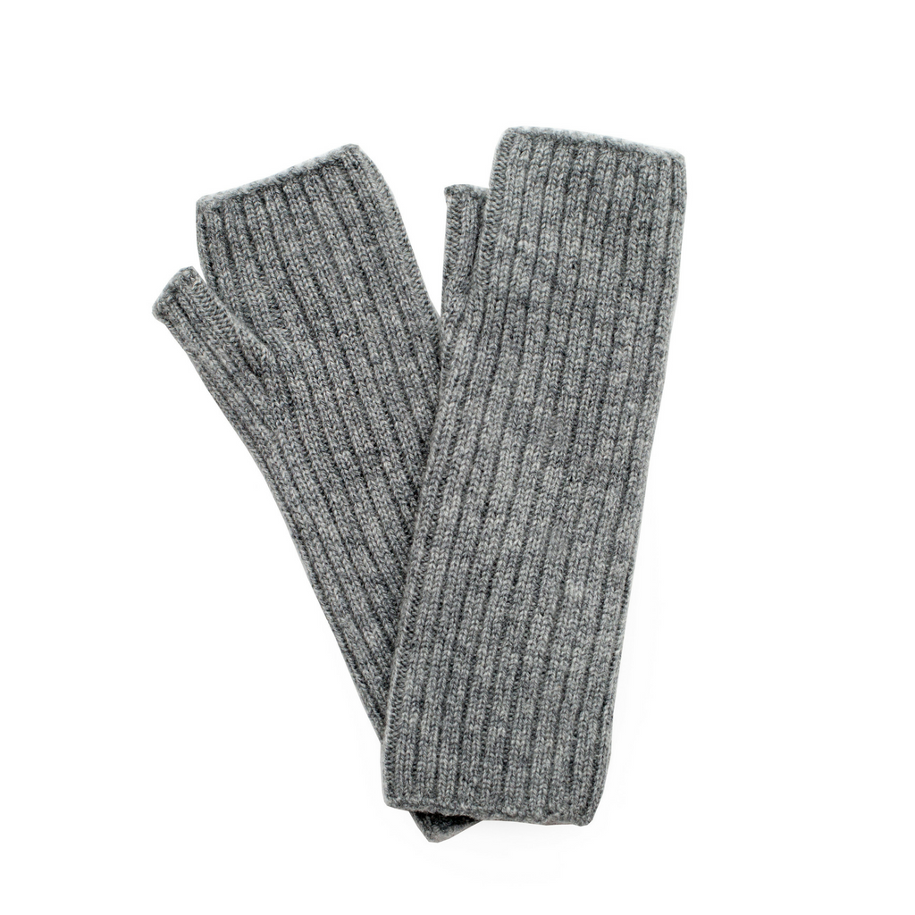 Ribbed Cashmere Wrist Warmers - Light Grey Marl