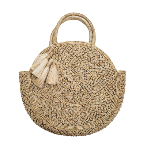 The Jacksons Lola Round Jute Tote Bag with Tassels - Natural