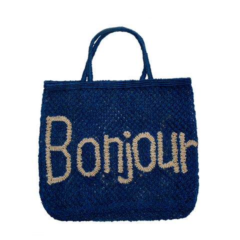 The Jacksons Bonjour Jute Tote Bag - Large - Cobalt with Natural