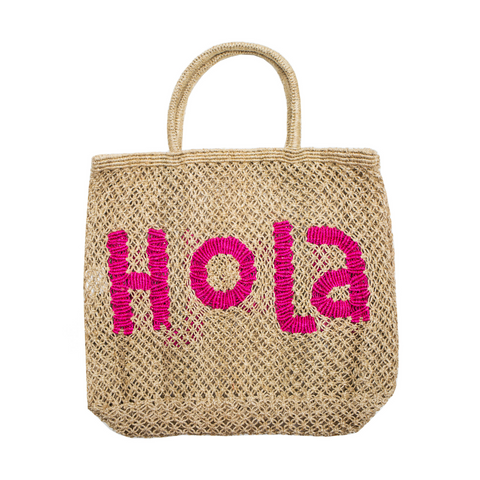 The Jacksons Hola Jute Tote Bag - Large - Natural with Pink