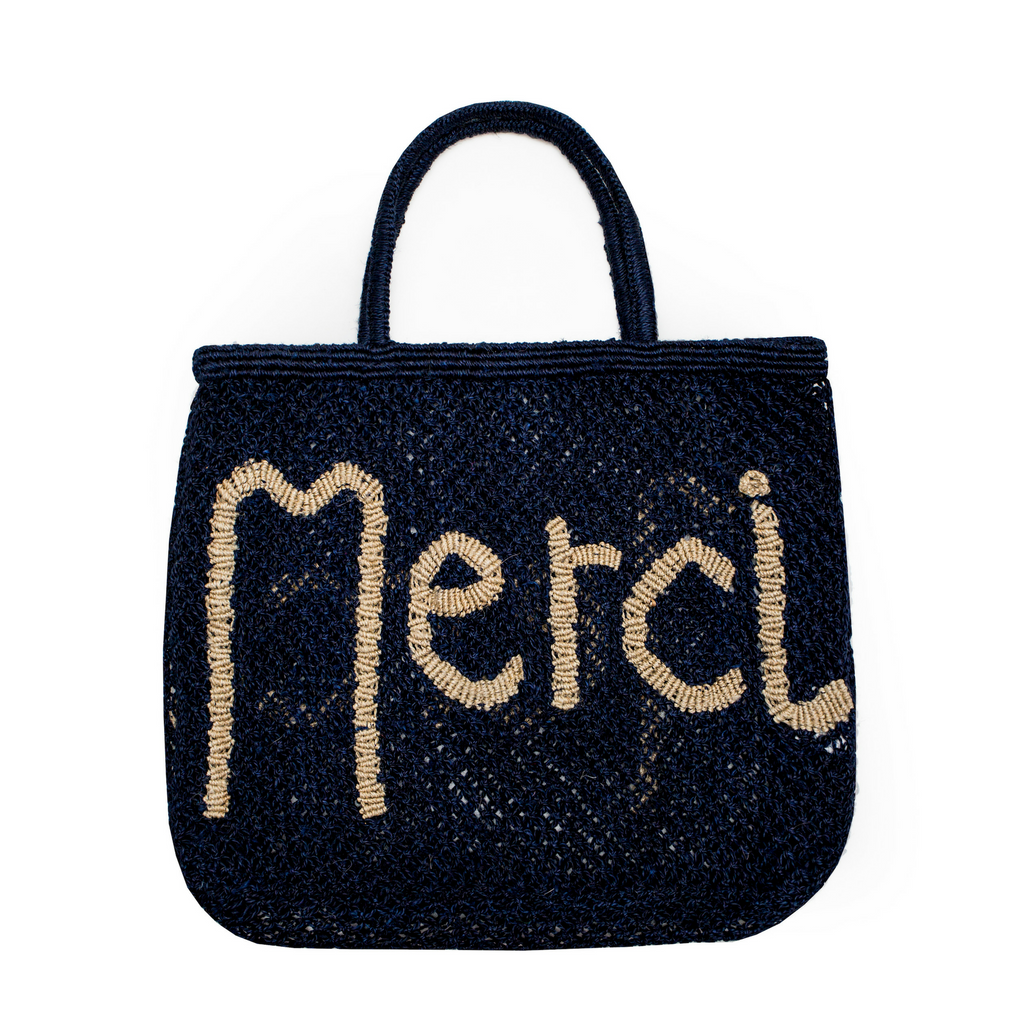 The Jacksons Merci Jute Tote Bag - Large - Indigo with Natural