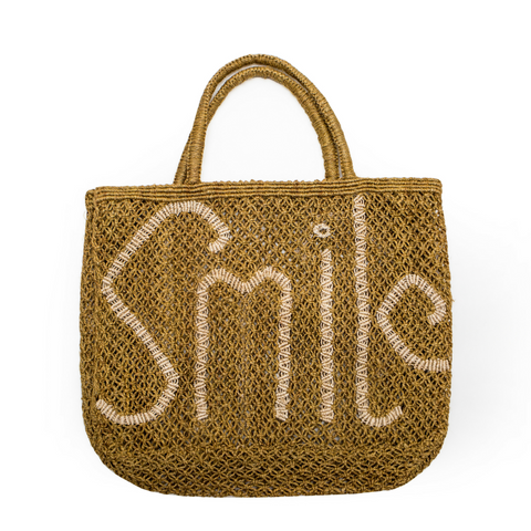 The Jacksons Smile Jute Tote Bag - Army Green with Natural