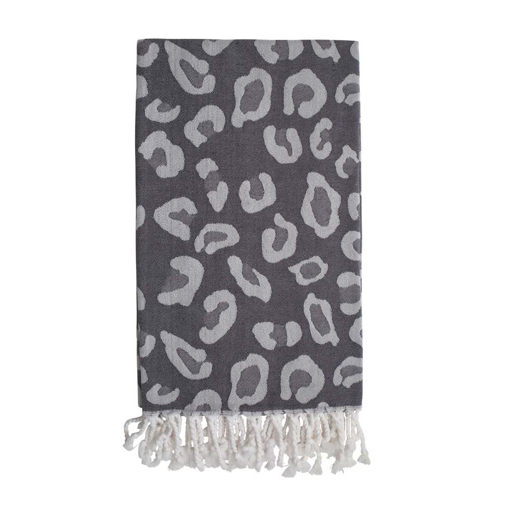 Animal Print Hammam Towel - Grey