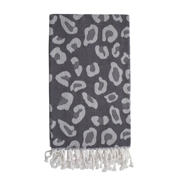 Sand and Salt Animal Print Hammam Towel - Grey