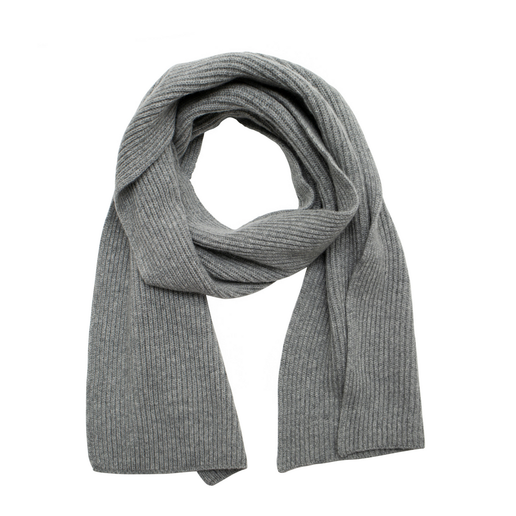 grey pure cashmere ribbed knitted scarf