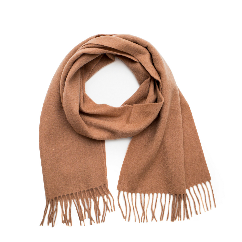 Lambswool Fringed Scarf - Camel