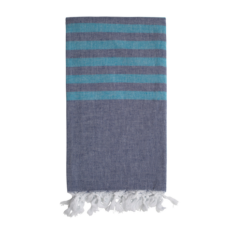 Biarritz Hammam Towel - Denim Blue/Sea Blue