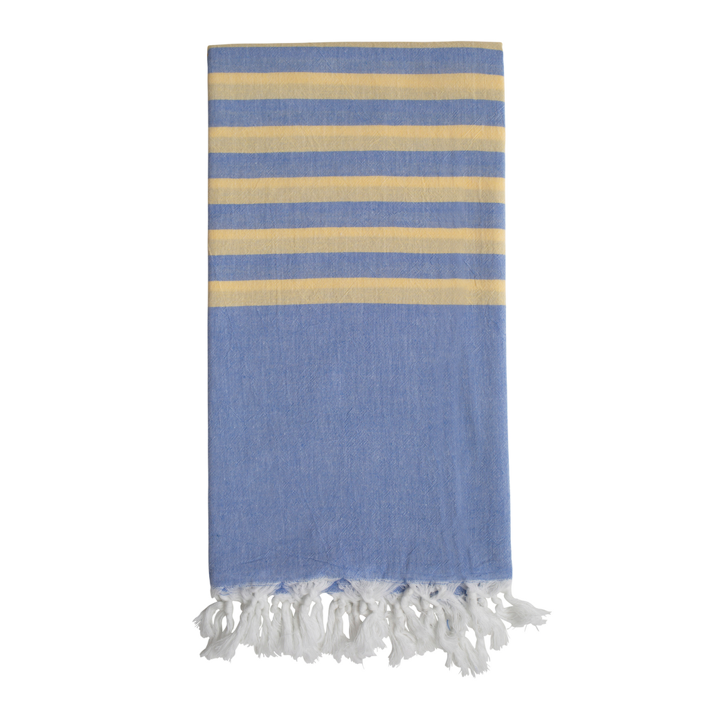 Biarritz Hammam Towel - Soft Blue/Lemon
