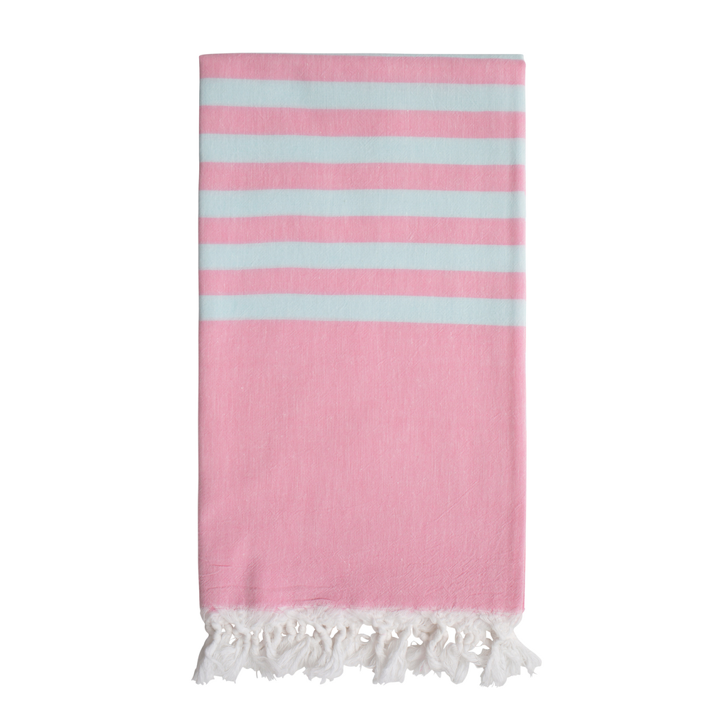 Biarritz Hammam Towel - Strawberry/Ice Blue