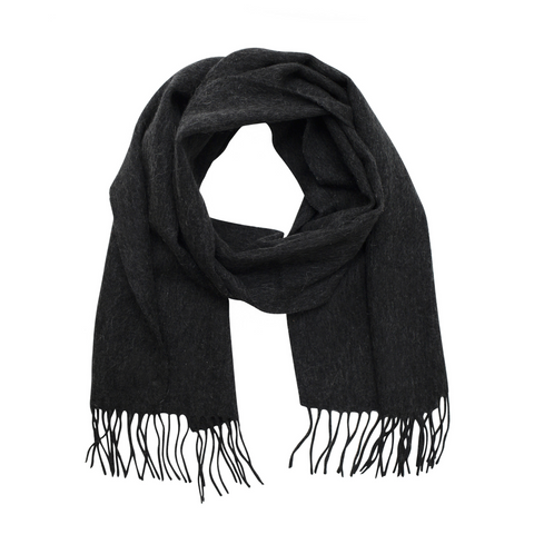 Lambswool Fringed Scarf - Charcoal Grey