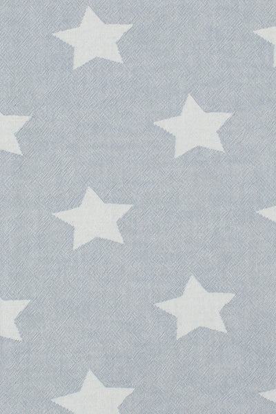 close up of Star hammam towel in washed grey cotton with white stars