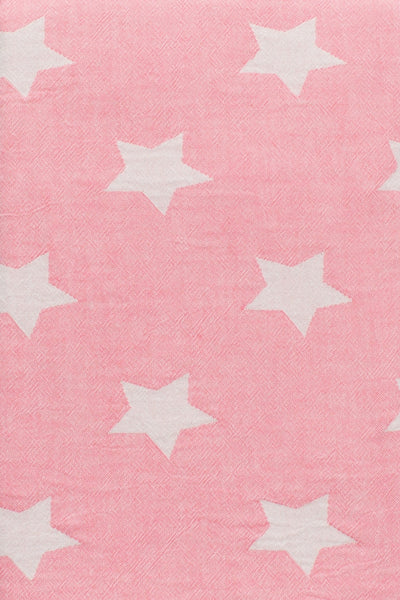 close up of Star hammam towel in washed pink cotton with white stars