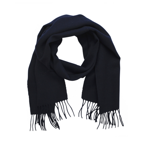 Lambswool Fringed Scarf - Dark Navy