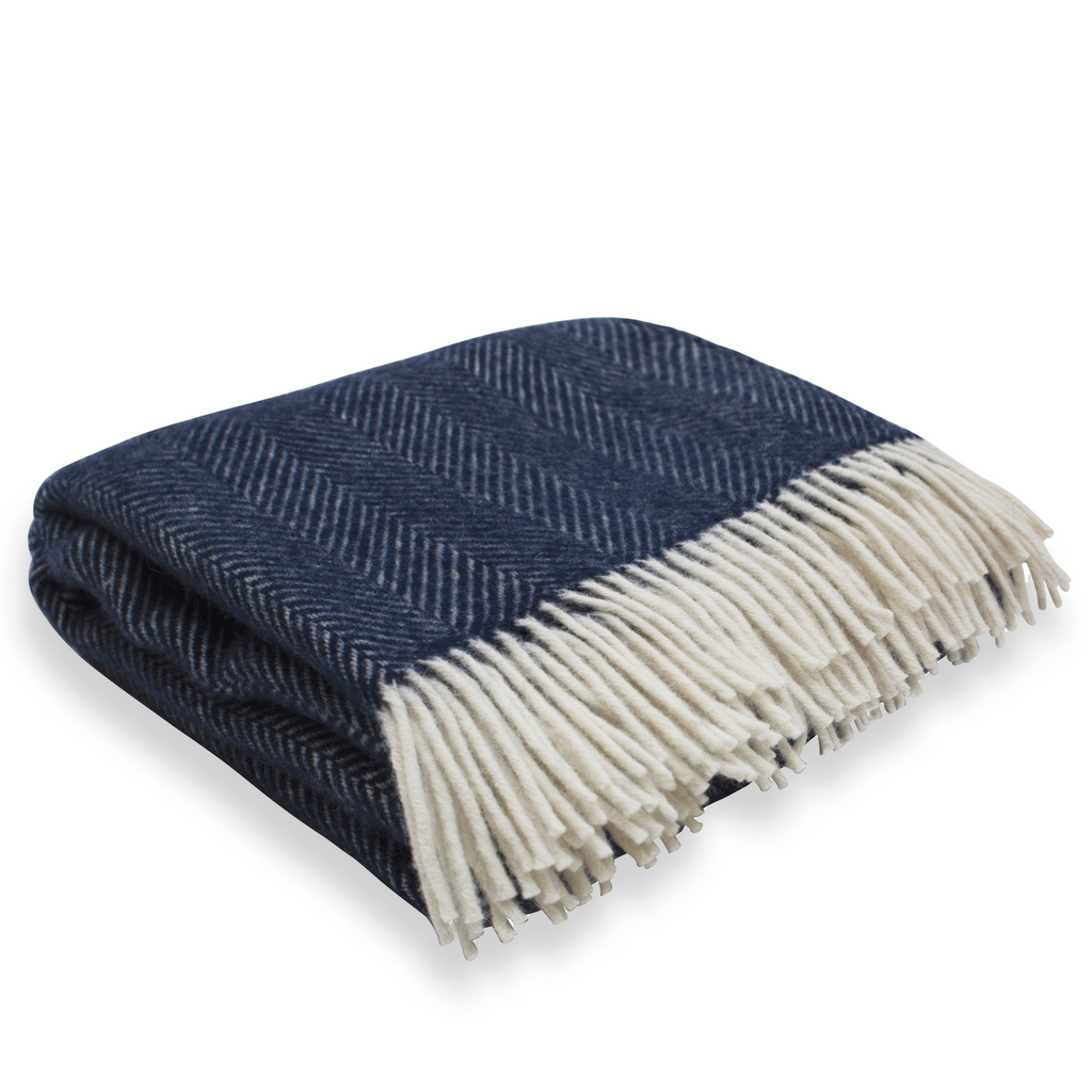 Soft Wool Throw - Navy Blue