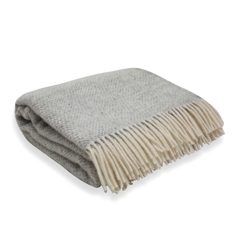 Soft Wool Throw - Light Grey