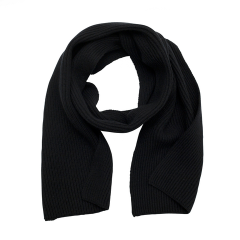 black pure cashmere ribbed knitted scarf