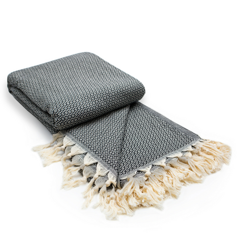 Diamond Cotton Turkish Throw Blanket in Charcoal Grey from Sand and Salt.