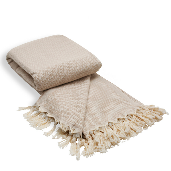 Diamond Cotton Turkish Throw Blanket in Warm Sand from Sand and Salt.
