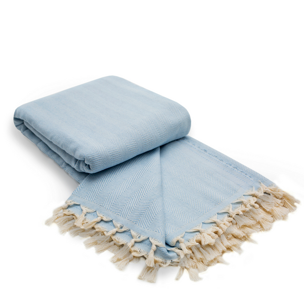 Herringbone Cotton Turkish Throw Blanket in Ice Blue from Sand and Salt.