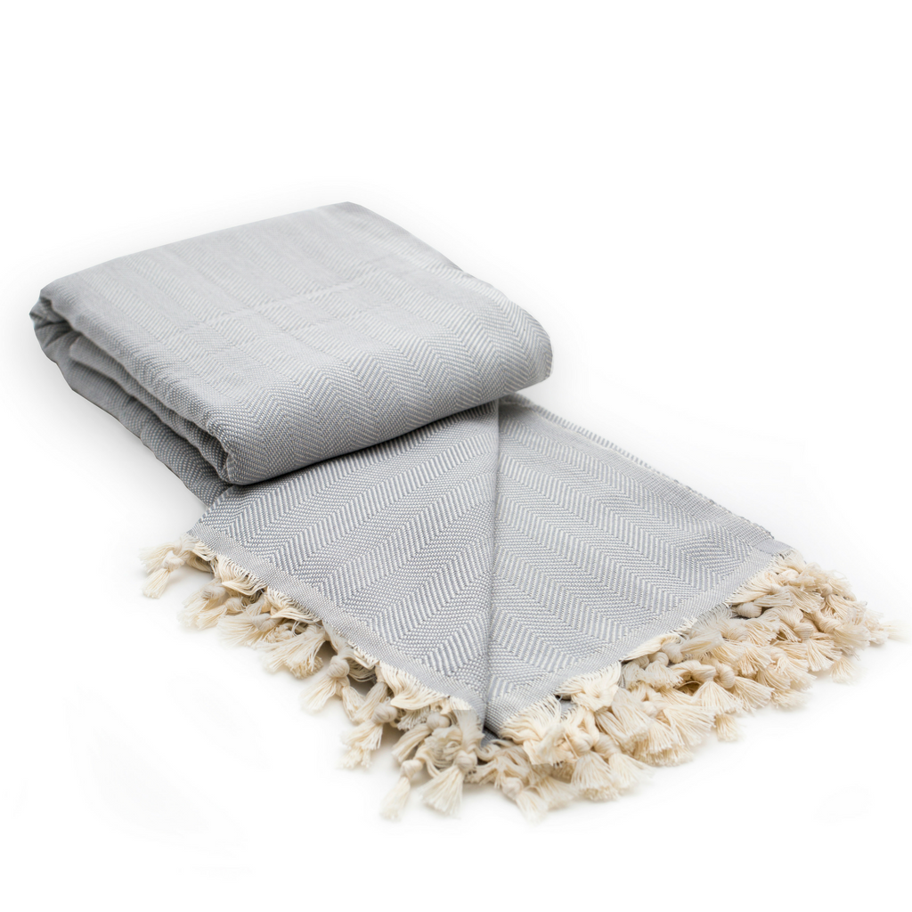 Herringbone Cotton Turkish Throw Blanket in Cloud Grey from Sand and Salt.