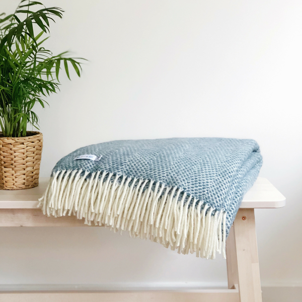 Soft Wool Throw - Aqua Blue
