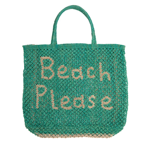 The Jacksons Beach Please jute tote bag - Large size 44cm x 42cm - Aqua green with the words beach please in natural colour with jute handles.