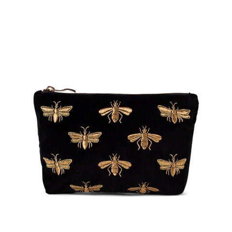 Elizabeth Scarlett Bee Velvet Makeup Bag - Black