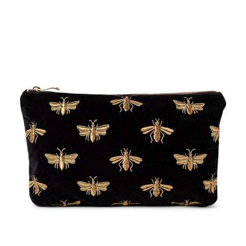 Elizabeth Scarlett Bee Velvet Everyday Pouch - Black