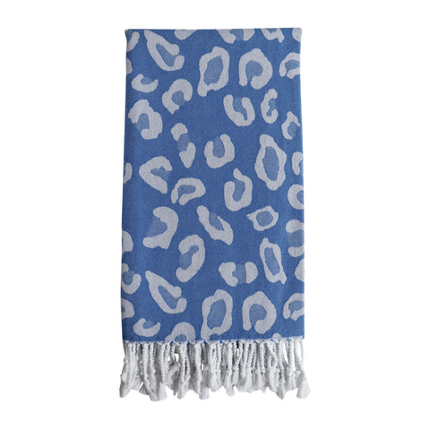 Animal Print Hammam Towel - Blue