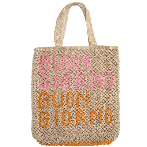 The Jacksons Buongiorno jute tote bag - Large size 44cm x 42cm - Natural colour with the words buongiorno in rose and honey with natural jute handles.