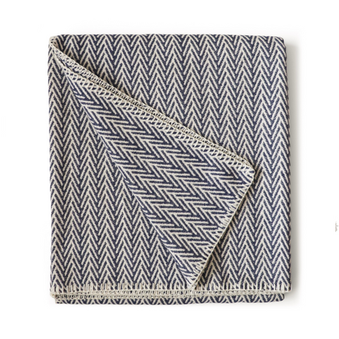 Chevron Cotton Throw - Indigo Blue