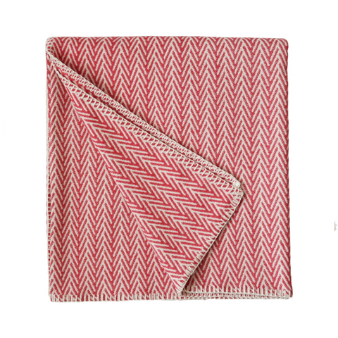 Chevron Cotton Throw - Soft Red