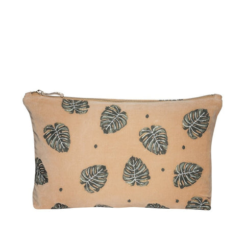 Elizabeth Scarlett Jungle Leaf Velvet Pouch - Copper