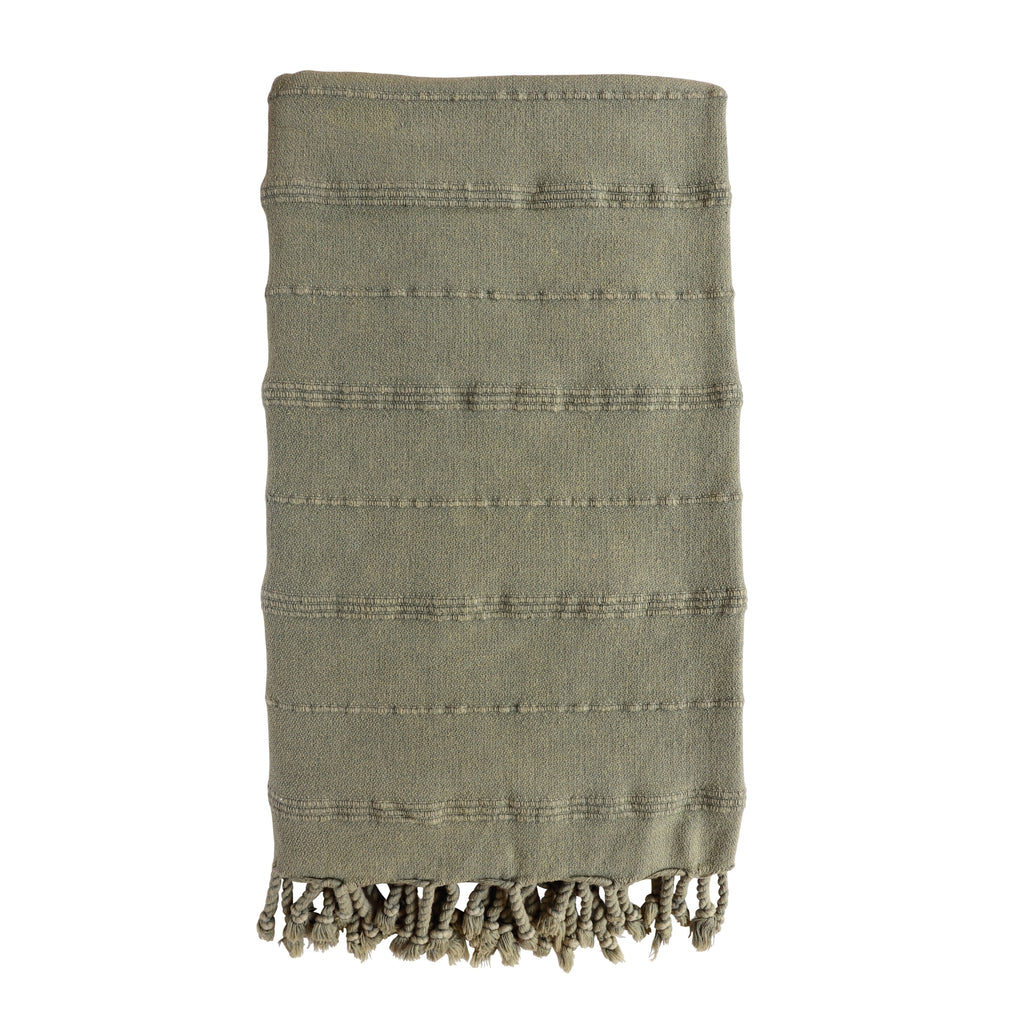 Cove Stonewashed Hammam Towel in plain Olive khaki colour with textural stripe design. Knotted fringing at both ends.