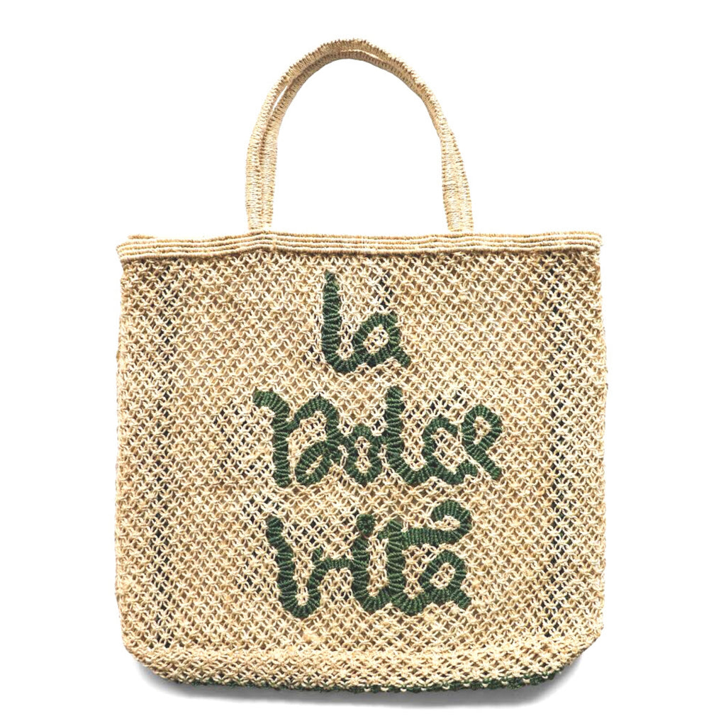 The Jacksons La Dolce Vita Jute Tote Bag - Large - Natural with Forest Green