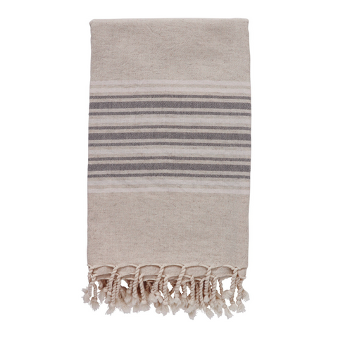 Dune Linen Hammam Towel - Pebble Grey