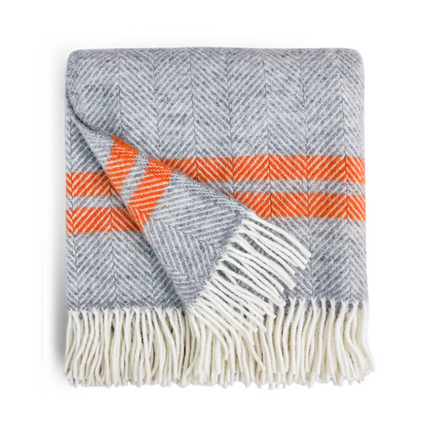 Herringbone Wool Throw - Grey / Cinnamon Stripe