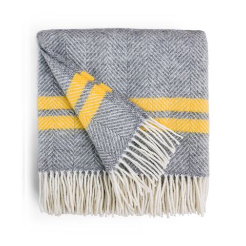 Herringbone Wool Throw - Grey / Mustard Stripe