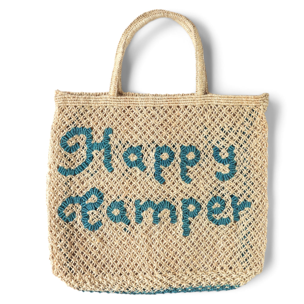 The Jacksons Happy Camper jute tote bag - Large size 44cm x 42cm - Natural colour with the words happy camper in ocean blue colour, with jute handles.